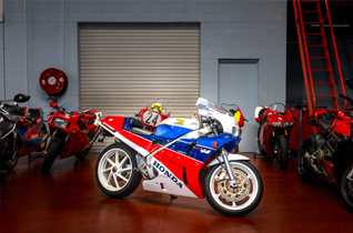 Motorcycles parked in an indoor motorbike storage
