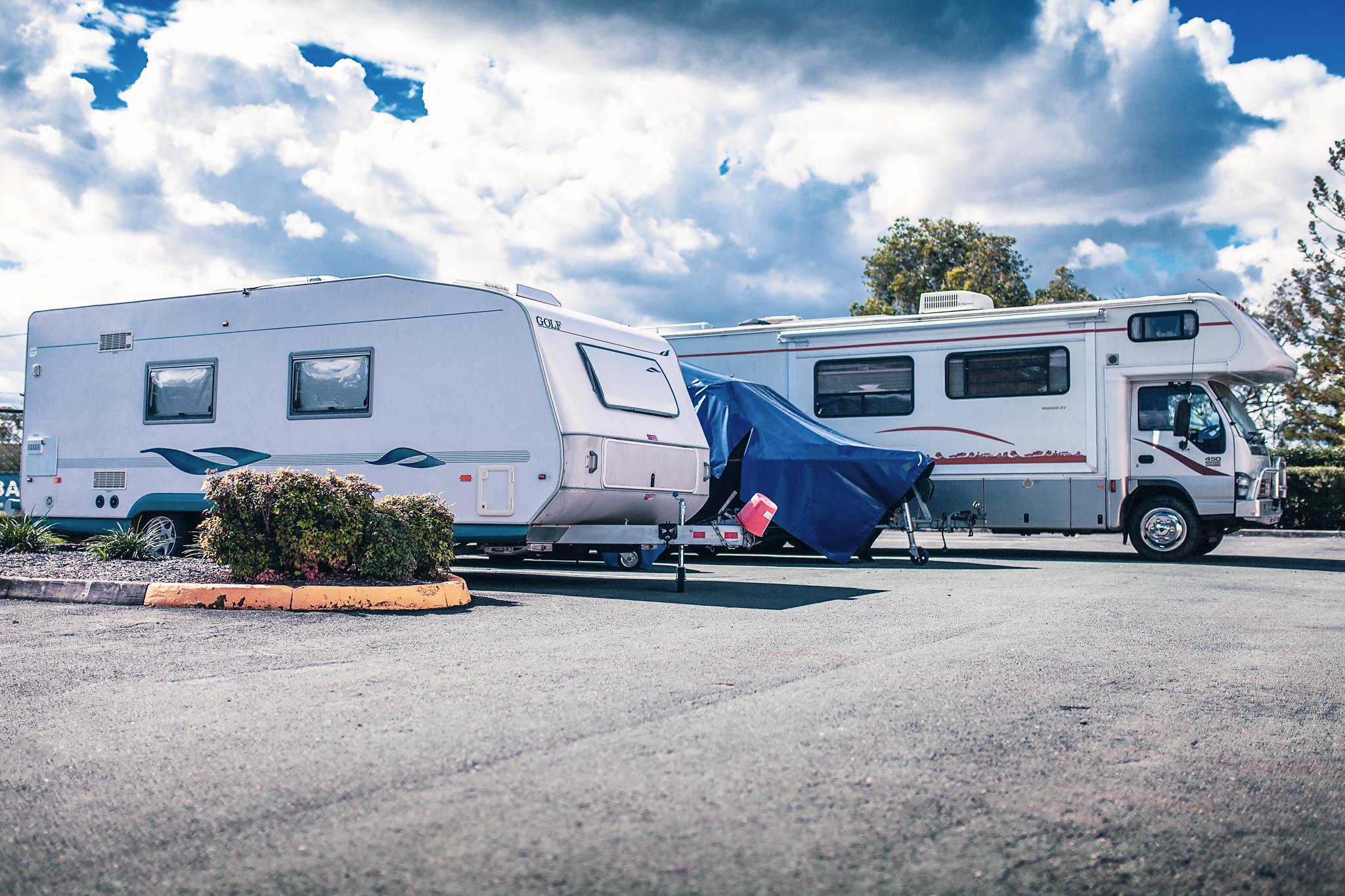 Caravan vehicles parked in an outdoor storage