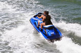 A couple enjoying their jet ski