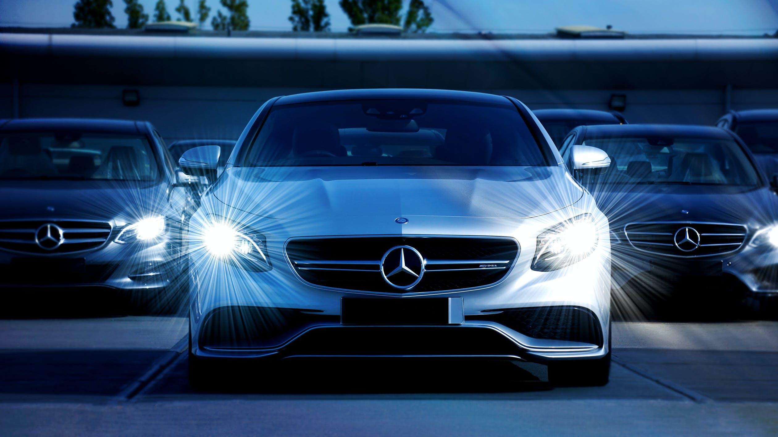 car with headlights on